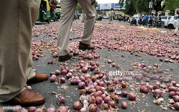 Onions that were thrown in front of Collectorate by farmers from Bijalpur and Rau as part of their protest on May 30 2016 in Indore India A bumper...