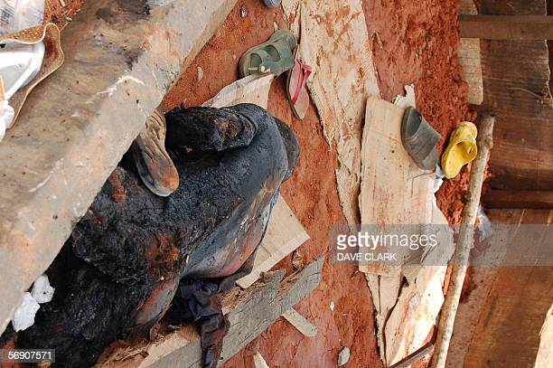 The chared remains of a murdered Muslim victim to a lynchmob in the southern Nigerian city of Onitsha lays beside the roadside 22 February 2006...