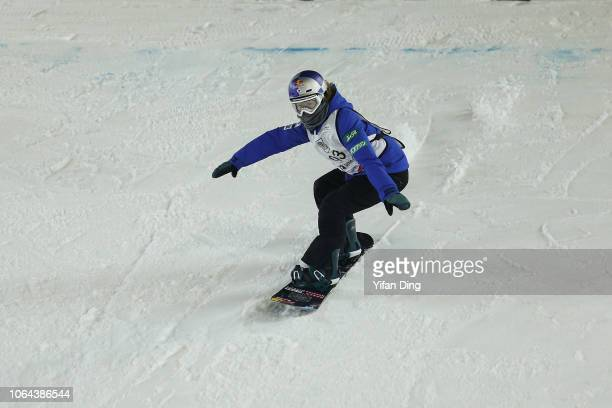 Onitsuka Miyabi of Japan competes during Women's Snowboard Big Air Qualification on day one of the AirStyle Beijing 2018 FIS Snowboad World Cup at...