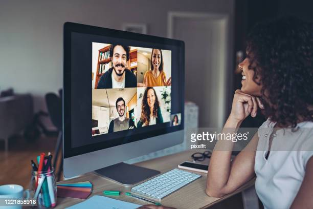 online business meeting - video conference stock pictures, royalty-free photos & images