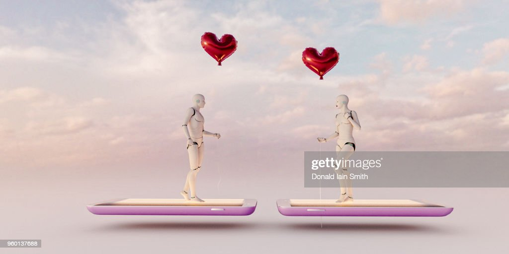 Online dating concept: male and female artificial intelligences meet holding red balloons while standing on mobile phones : Stock-Foto