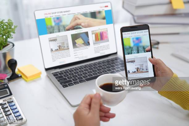 online e-commerce work from home - advertisement stock pictures, royalty-free photos & images