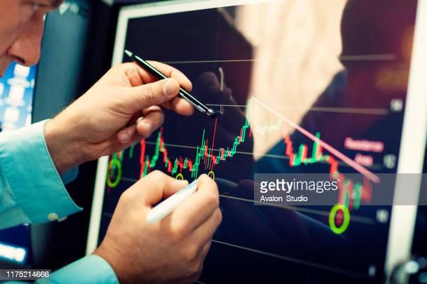 online-finanzanalyse auf einem computermonitor. - börsenhandel finanzberuf stock-fotos und bilder