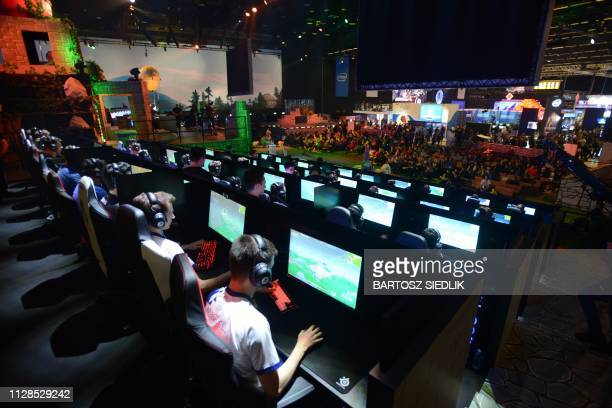 Online game Fortnite enthusiasts attend the ESL Katowice Royale Featuring Fortnite Tournament as online gamers compete during the Intel Extreme...