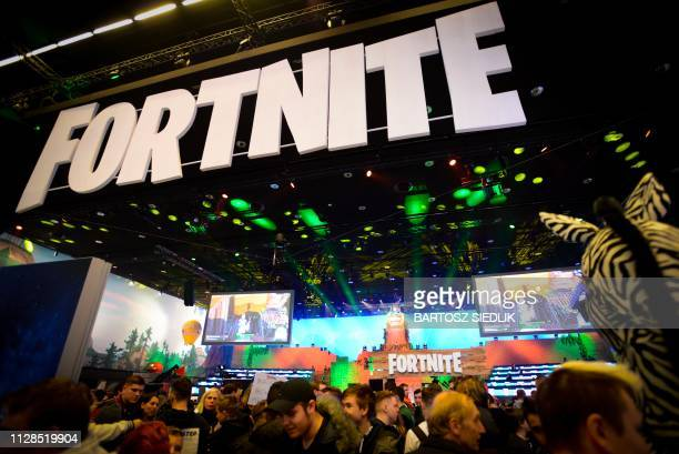 Online game Fortnite enthusiasts attend the ESL Katowice Royale Featuring Fortnite Tournament during the Intel Extreme Masters Katowice 2019 event in...