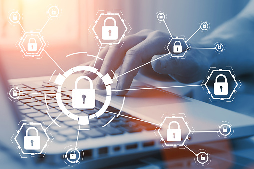 Online internet secure payment and network safe communication and banking concept. Person pay in web via computer. Locks and padlocks on diagram. 963458566