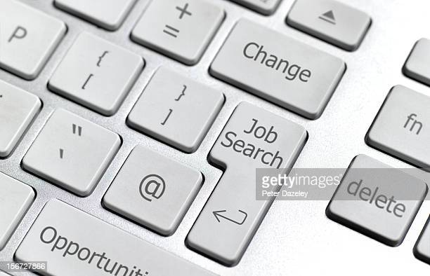 on-line job search computer keybaord - job search stock pictures, royalty-free photos & images