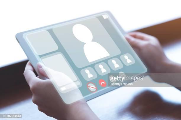 online meeting concept, smart working from home - hud interfaccia grafica utente foto e immagini stock