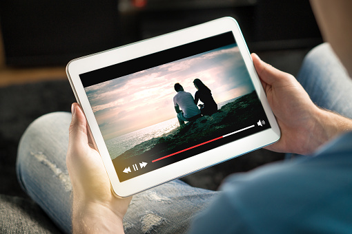 Online movie stream with mobile device. 880861434