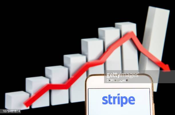 Online payment platform Stripe logo is seen on an Android mobile device with a graph showing sharp losses in the background