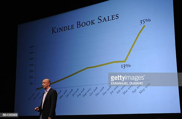 Online retail giant Amazoncom CEO Jeff Bezos unveils the Kindle DX a largescreen version of its popular Kindle electronic reader designed for...