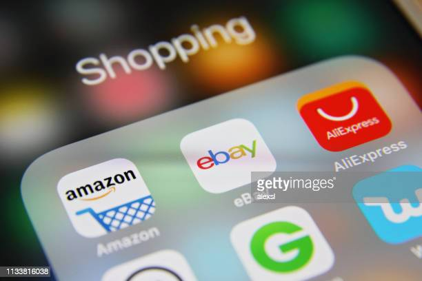 online shopping e-commerce mobile app icons - social media marketing stock pictures, royalty-free photos & images