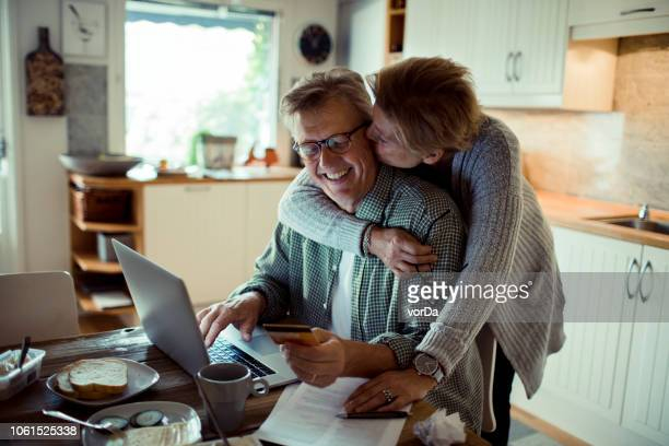 online shopping - man eating woman out stock photos and pictures