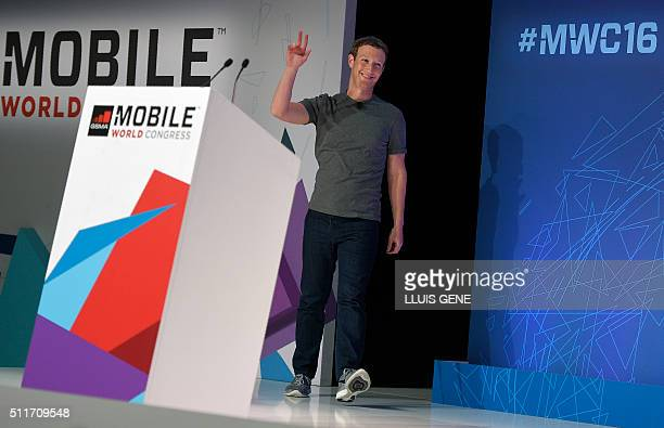 US online social networking service company Facebook Chairman chief executive and cofounder Mark Zuckerberg gestures during a a keynote speech at the...