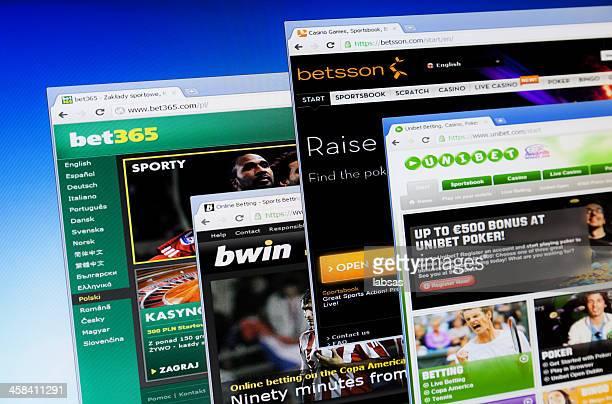 Online sports betting on computer screen. Bet365, Betsson, Bwin, Unibet.
