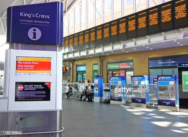 Only a few staff and customers seen around the London's Kings Cross station which is being closed for travel over the weekend Rail passengers are...
