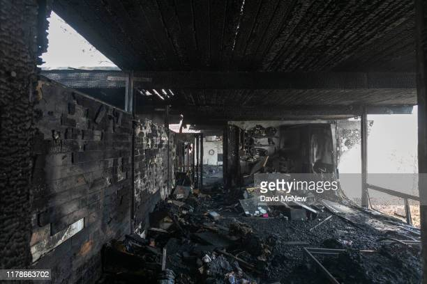 Only charred debris remains after a house was burned in the Getty Fire on October 28 2019 in Los Angeles California Reported at 130 am the fire...