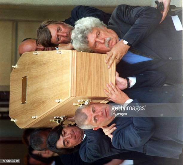 Only Fools And Horses actor Ken MacDonald and actor/screen-writer Colin Welland , lead the pallbearers as they carry the coffin of actor Brian...