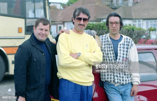 Only Fools and Horses TV Programmes Cast of TV Show Behind The Scenes 1989 Frm left to right Kenneth McDonald as Mike Fisher John Challis as Boycie...