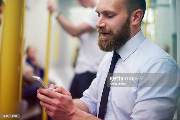 I only have time for texting when I am on the subway. London, United Kingdom