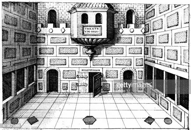 Only known genuine illustration of interior of Globe Theatre Bankside Southwark London Stage of second Globe built on foundations and in same style...