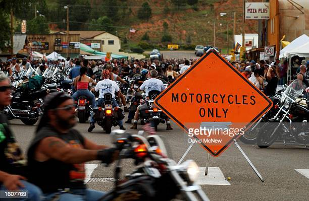 Only motorcycles are allowed into the center of tiny town of Hulett WY which is overun by cyclists from the 61st annual Sturgis Motorcycle Rally...