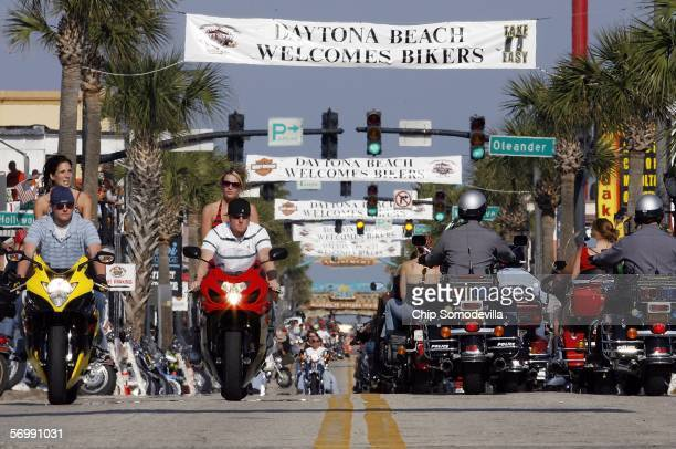 Only motorcycles are allowed to ride down Main Street during the first three days of Bike Week March 3 2006 in Daytona Beach Florida More than 500000...
