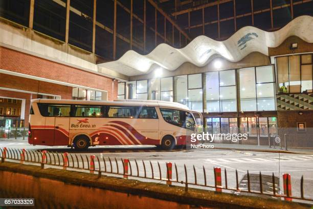 Only one Bus Eireann bus at Busaras Bus Station in Dublin as AN IMMEDIATE ALLOUT Bus Eireann strike is to begin tonight the National Bus and Rail...