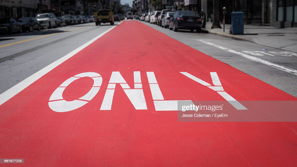 Only Sign On Road In City : Stock Photo