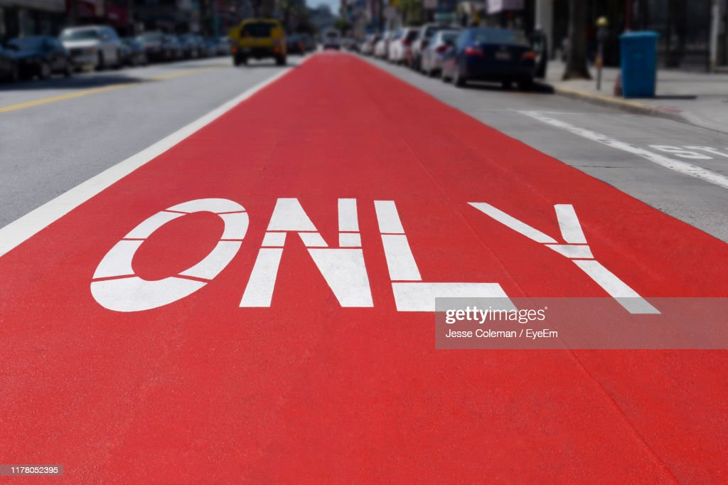 Only Text On Road In City : Stock Photo