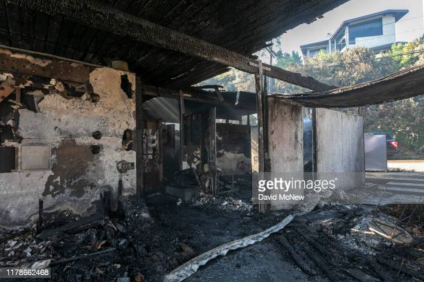 Only the shell of a house remains after it was completely burned in the Getty Fire on October 28 2019 in Los Angeles California Reported at 130 am...