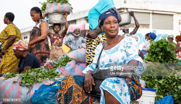 Only women are selling at these Vegetable market in Lome on June 15, 2021 in Lome, Togo.