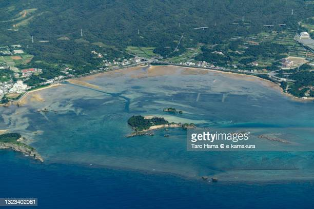 onna village in okinawa of japan aerial view from airplane - 沿岸 ストックフォトと画像