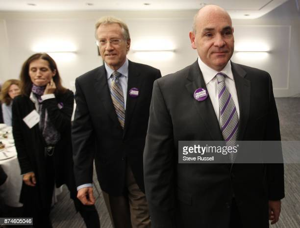 October 15 2010 Senator and former Mayor Art Eggleton centre and former mayoral candidate Sarah Thompson walk out with Mayoral candidate George...