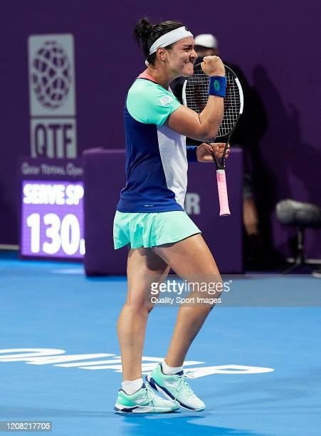 Ons Jabeur of Tunisia celebrates a point against Katerina Siniakova of Czech Republic during day one of the WTA Qatar Total Open 2020 at Khalifa...