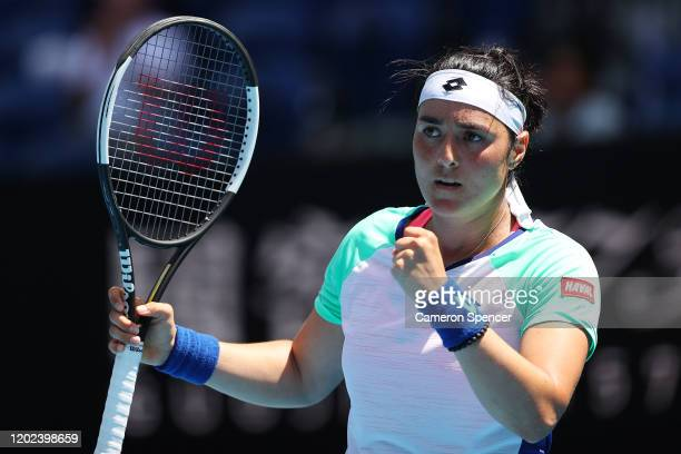 Ons Jabeur of Tunisia celebrates after winning a point during her Women's Singles Quarterfinal match against Sofia Kenin of the United States on day...