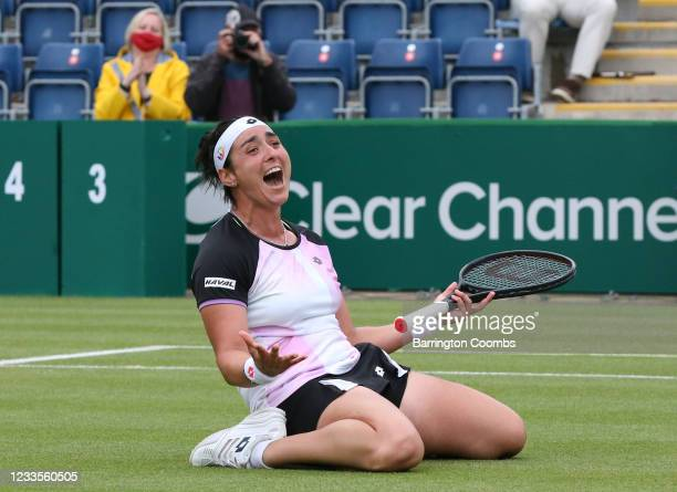 Ons Jabeur of Tunisia celebrates victory against Daria Kasatkina of Russia in the Womens Singles Final during the Viking Classic Birmingham at...