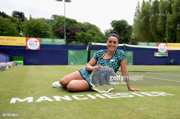 Ons Jabeur of Tunisia celebrates victory in the Womens Singles Final during Finals Day of the Fuzion 100 Manchester Trophy at The Northern Lawn...