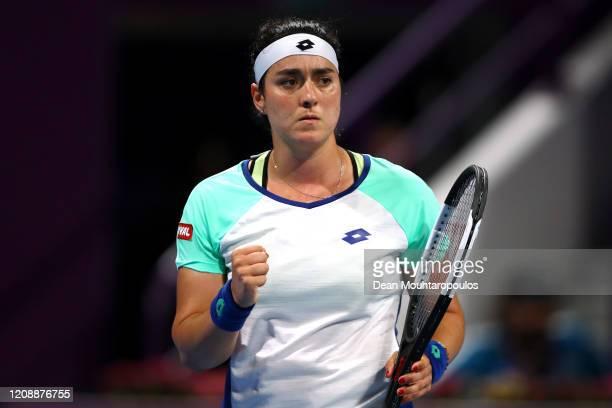 Ons Jabeur of Tunisia celebrates winning a point against Karolina Pliskova of Czech Republic during Day 4 of the WTA Qatar Total Open 2020 at Khalifa...