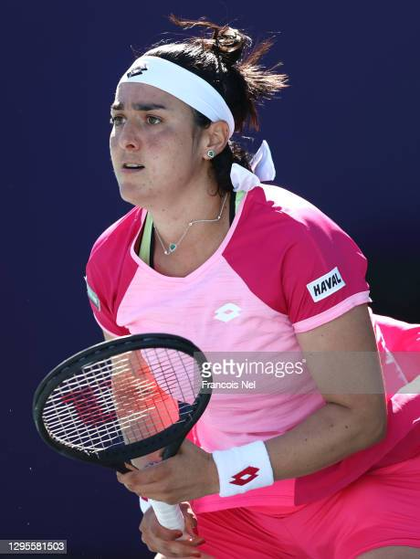 Ons Jabeur of Tunisia in action against Aryna Sabalenka of Belarus during her Women's Singles match on Day Five of the Abu Dhabi WTA Women's Tennis...