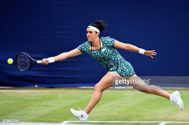 Ons Jabeur of Tunisia in action in the Womens Singles Final during Finals Day of the Fuzion 100 Manchester Trophy at The Northern Lawn Tennis Club on...