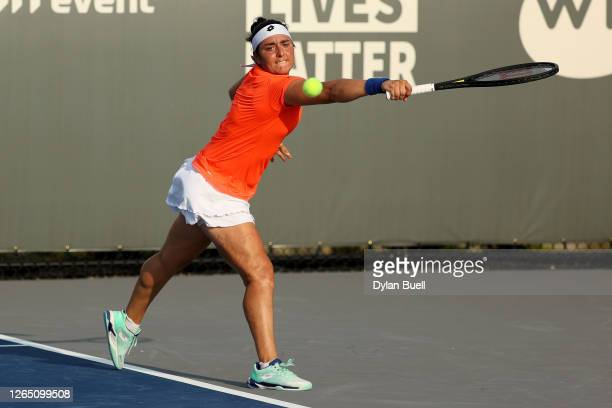 Ons Jabeur of Tunisia plays a backhand during her match against Catherine McNally during the Top Seed Open - Day 1 at the Top Seed Tennis Club on...