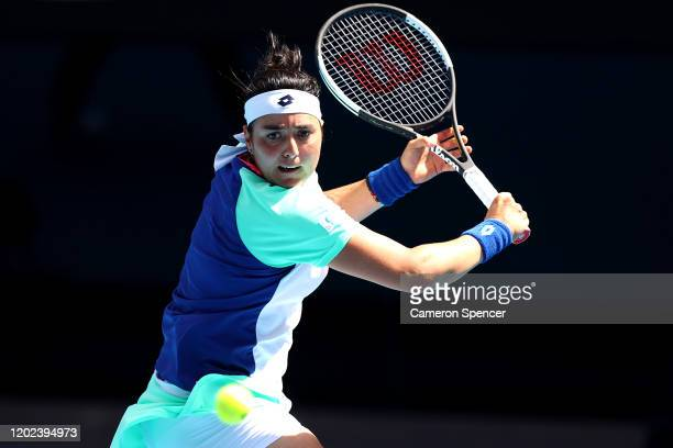 Ons Jabeur of Tunisia plays a backhand during her Women's Singles Quarterfinal match against Sofia Kenin of the United States on day nine of the 2020...