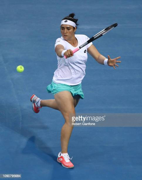 Ons Jabeur of Tunisia plays a shot during her singles match against Ana Bogdan of Romania during day three of the 2019 Hobart International at Domain...
