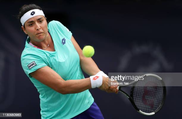 Ons Jabeur of Tunisia plays a shot in her match against Elina Svitolina of Ukraine during day three of the WTA Dubai Duty Free Tennis Championships...