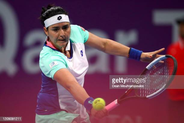 Ons Jabeur of Tunisia returns a backhand against Petra Kvitova of Czech Republic during Day 5 of the WTA Qatar Total Open 2020 at Khalifa...