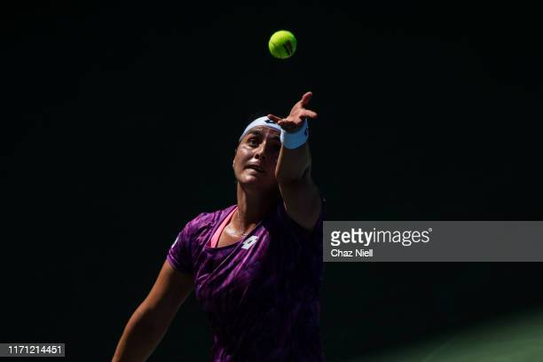 Ons Jabeur of Tunisia serves a shot during her third round Women's Singles match against Karolina Pliskova of the Czech Republic on day five of the...