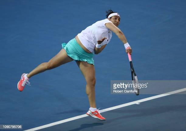 Ons Jabeur of Tunisia serves during her singles match against Ana Bogdan of Romania during day three of the 2019 Hobart International at Domain...