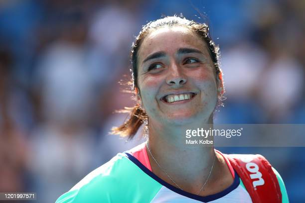Ons Jabeur of Tunisia smile after winning her Women's Singles fourth round match against Qiang Wang of China on day seven of the 2020 Australian Open...