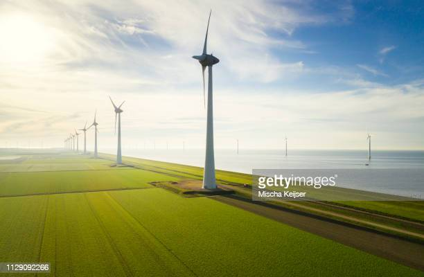 onshore and offshore wind turbines on reclaimed land, noordoostpolder, flevoland, netherlands - westeuropa stock-fotos und bilder